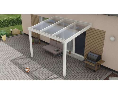Toiture pour terrasse Expert avec polycarbonate transparent 300x250 cm blanc