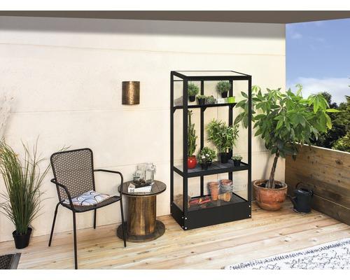 Serre pour balcon Vitavia Polis 350 verre de sécurité trempé avec cadre de sol 81x43cm noir