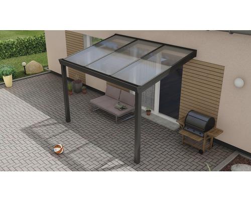 Toiture pour terrasse Expert avec polycarbonate transparent 300x250 cm anthracite