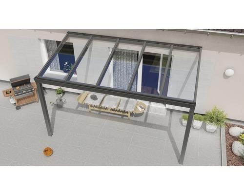 Terrassenüberdachung Expert mit Verbund-Sicherheits-Glas 8 mm 400x250 cm anthrazit