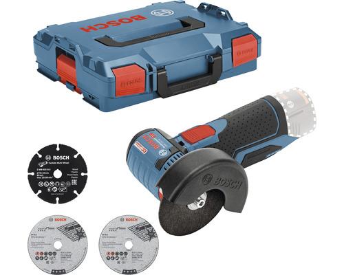 Meuleuse d'angle sans fil Bosch Professional GWS 12V-76 avec 1 x disque à tronçonner en métal dur, 2 disques à tronçonner en Inox et L-BOXX 102, sans batterie ni chargeur