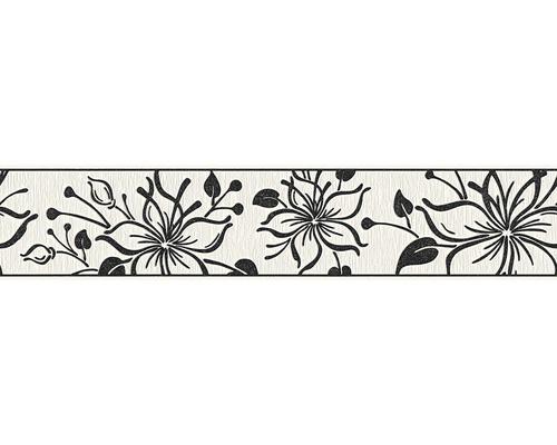 Frise autocollante fleurs noir et blanc avec paillettes 5m x 13 cm
