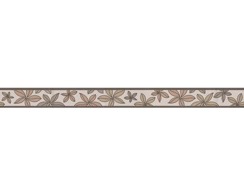 Frise autocollante fleurs marron beige 5 m x 5 cm