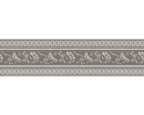 Frise papier ornement vrilles graphite argent 5m x 17 cm
