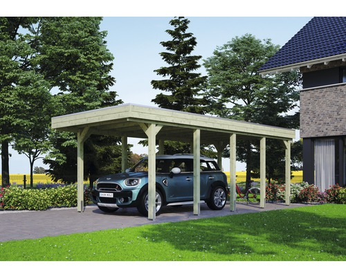 Carport pour un véhicule Skanholz Friesland 314x708 cm, toit aluminium, imprégné par immersion