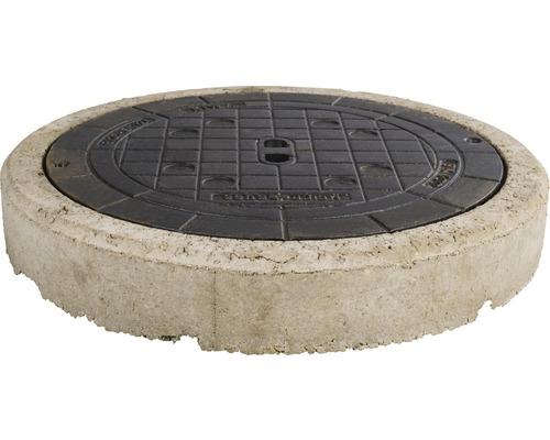 Couvercle de puits classe B 125 sans aération, anneau de béton inclus – rond