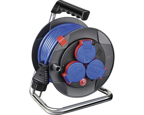 Brennenstuhl Kabeltrommel IP44 AT-N05V3V3-F 3G1,5 Garant Kompakt 15 m Kabel blau 3 spritzwassergeschützte Schutzkontakt-Steckdosen