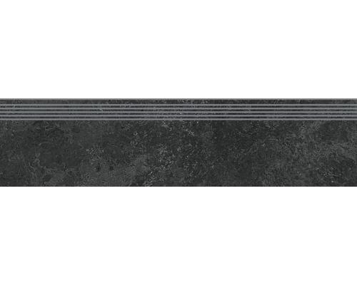 Carrelage de marches en grès cérame fin Candy graphite 29,8x119,8cm