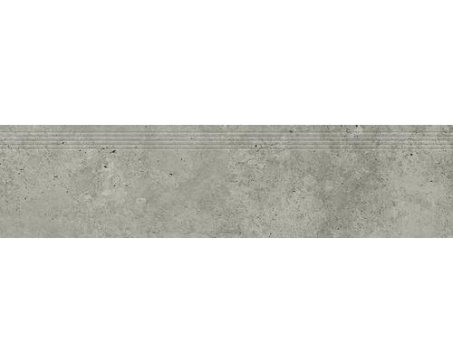 Carrelage de marches en grès cérame fin Candy light grey 29,8x119,8cm