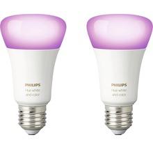 Ampoule LED Philips hue White & Color Ambiance à intensité lumineuse variable violet 2x E27 9,5W 806 lm 2000K-6500 K RGB - avec SMART HOME by HORNBACH-thumb-2
