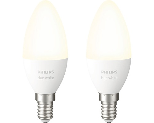 Ampoule flamme LED Philips hue White à intensité lumineuse variable blanc mat 2x E14/5,5W(40W) 470 lm 2700 K blanc chaud B39 2 pces - compatible avec SMART HOME by HORNBACH