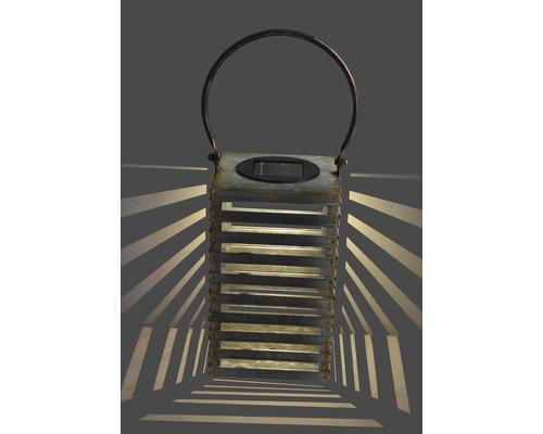 Lanterne solaire à LED H 34 cm old zinc