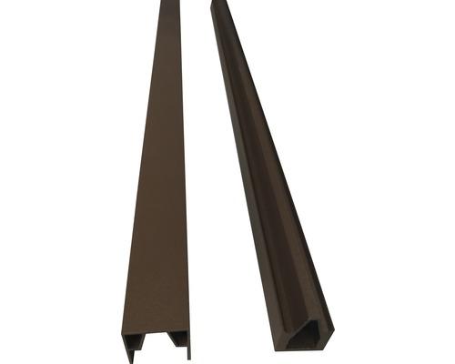 Profilés d''extrémités clôture enfichable WPC 177x15cm, marron