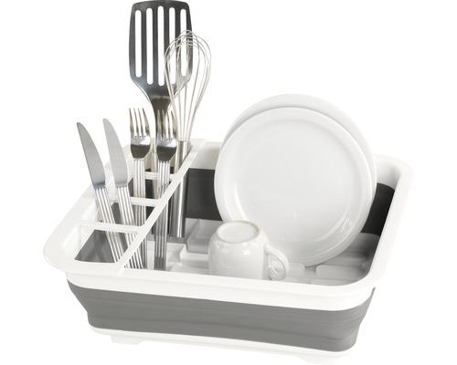 Égouttoir vaisselle pliable blanc/gris