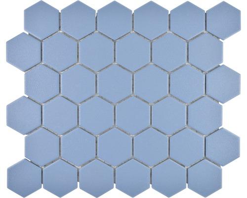 Mosaïque en céramique HX AT53 Hexagon 32,5x28,1 cm uni bleu vert R10B