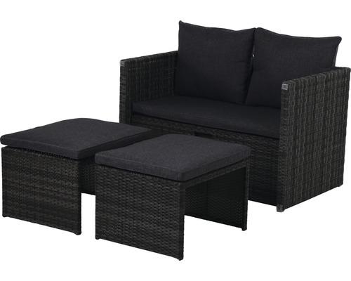 Ensemble de meubles pour balcon et de jardin Garden Place Carter 3 in 1 multifonction 2-4 sièges 4 pces rotin anthracite avec galettes de chaise