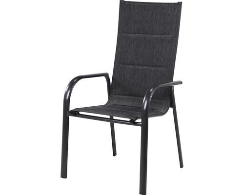 Chaise empilable Garden Place avec revêtement textile à séchage rapide gris foncé