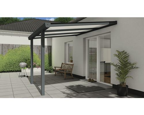 Toiture pour terrasse Easy Edition Brillance avec polycarbonate opale 300x250 cm anthracite