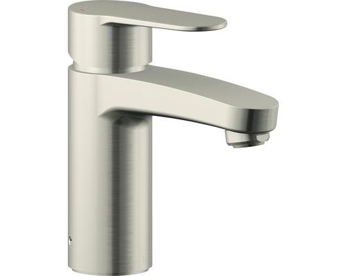 Mitigeur de lavabo AVITAL TERA aspect en acier inoxydable, certifié DVGW (Société allemande de l''industrie du gaz et des eaux) avec bonde d''évacuation Push-Open