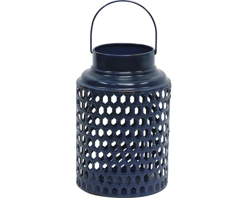 Lanterne métal H 30 cm, bleu