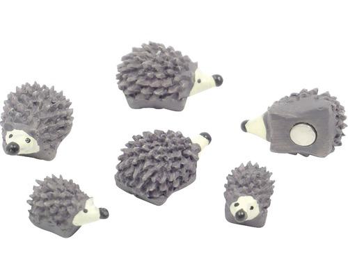 Aimant décoratif hérisson lot de 6 gris