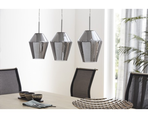 Lampe suspendue 3 ampoules L 770mm Murmillo chrome/transparent