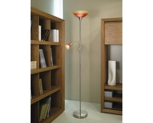Lampadaire UP4 nickel-mat-rouge-orange 1 x 60 W E27 + 1 x 60 W E14