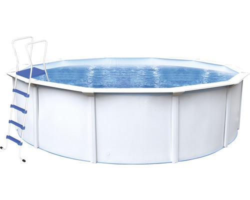 Kit piscine hors sol à paroi en acier Steinbach Nuovo de Luxe II rond Ø 550x120 cm avec échelle et skimmer intégré blanc