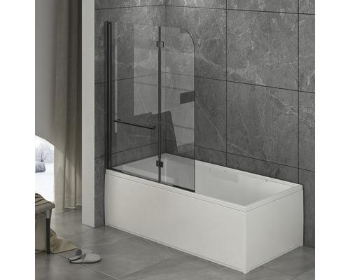 Paroi pliante pour baignoire basano Tahiti black en 2 parties 1120 x 1400 mm verre transparent profilé noir