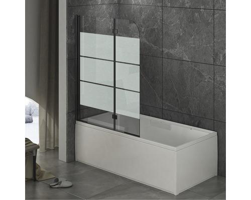 Pare-baignoire basano 2 parties 1120x1420 mm décor rayures profil noir