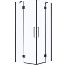 Douche accès d''angle basano Ballino 90 cm verre véritable transparent clair profil noir-thumb-2