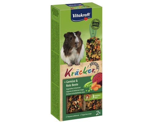 Snack pour rongeurs Vitakraft Kräcker® légumes pour cochons d''Inde, 2 morceaux