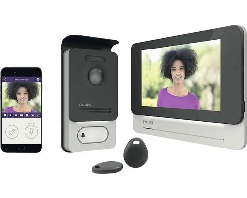 Visiophone Philips WelcomeEye Connect avec fonction vidéo argent/noir