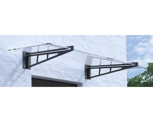 Vordach ARON Pultform Calais VSG 180x105 cm anthrazit ohne Wandanschlussprofil