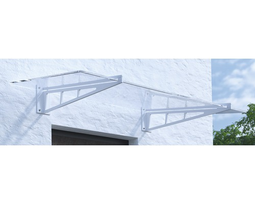 Vordach Pultform Calais VSG 200x105 cm weiß ohne Wandanschlussprofil