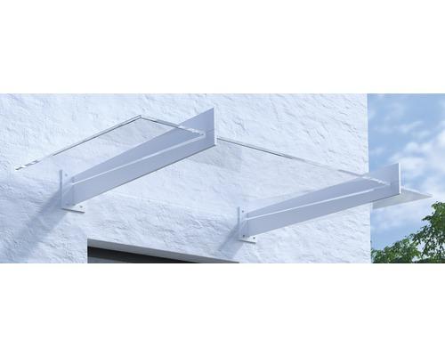 Vordach Pultform Lyon VSG 150x107,5 cm weiß ohne Wandanschlussprofil