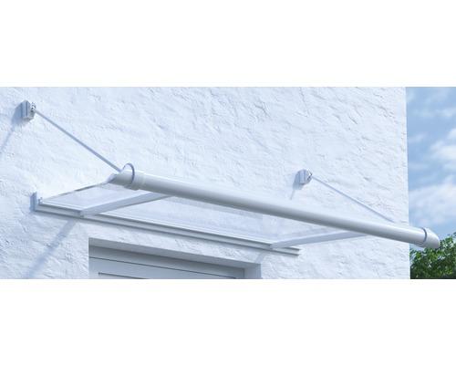 Vordach Pultform Reims VSG 150x80 cm weiß inkl. Regenrinne links geschlossen