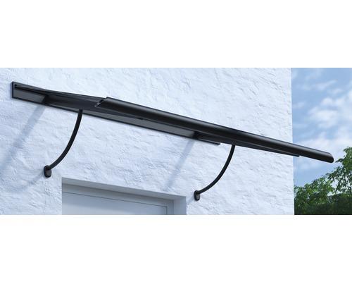 Vordach Pultform Paris VSG 200x95 cm anthrazit inkl. Konsole R und Regenrinne beidseitig