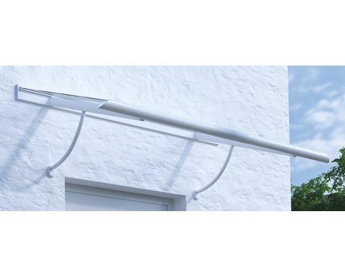 Vordach ARON Pultform Paris VSG 175x75 cm weiß inkl. Konsole R und Regenrinne beidseitig