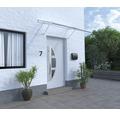 Vordach Pultform Paris VSG 175x115 cm weiß inkl. Konsole G und Regenrinne links geschlossen
