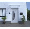 Vordach Pultform Paris VSG 200x95 cm weiß inkl. Konsole R und Regenrinne beidseitig