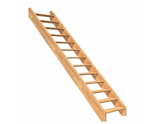 Escalier à limons Pertura Elenie hêtre sans rampe droit 15 marches sans  contremarches