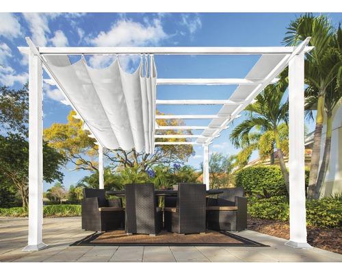 Pergola en aluminium, pavillon Paragon Outdoor Florida 10x10 avec voile d'ombrage réglable 320 x 320 cm blanc