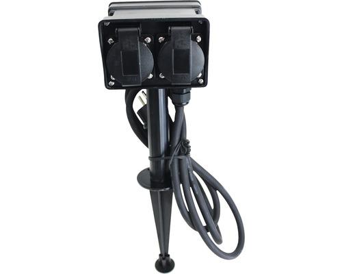 Prise de jardin 4 connexions avec piquet de terre IP44 1,5m câble noir jusqu'à 3680watts max.