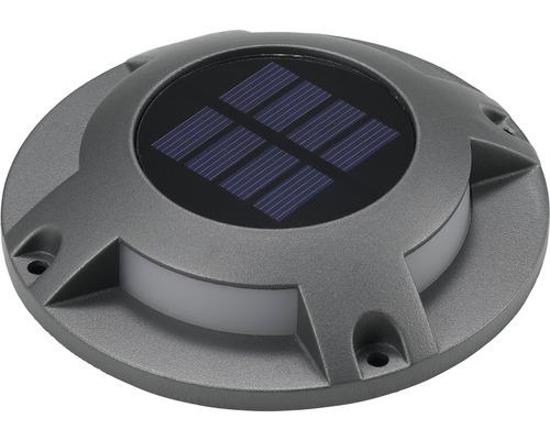 Lampe solaire à LED montée en saillie IP67 4x0,2W 5lm blanc lumière du jour Øxh 120x25mm gris