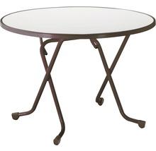 Table pliante Best Ø100 H70cm marron-thumb-0