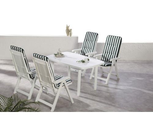 Ensemble de meubles de jardin Best Santiago 4 places, 9 éléments, blanc, avec coussins rembourrés