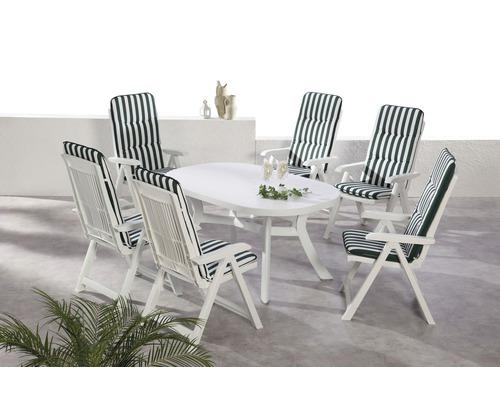Gartenmöbelset Best Santiago 6-Sitzer 13-teilig weiss inkl. Polsterauflage