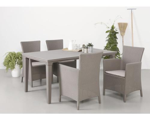 Ensemble de meubles de jardin Napoli cappuccino 4 places, 9 éléments, avec galettes de chaise