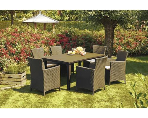 Ensemble de meubles de jardin Napoli 6 places, 13 éléments, capuccino, avec galettes de chaise